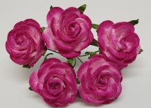 CERISE PINK ROSES (2.5 cm) Mulberry Paper Roses (Previously known as 3.0 cm)